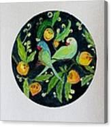 Talkative Parakeets Canvas Print