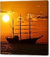Tall Ship At Sunset Canvas Print