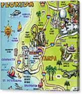 Tampa Florida Cartoon Map Canvas Print