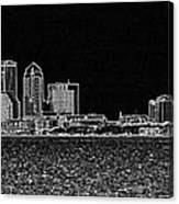 Tampa Panorama Digital - Black And White Canvas Print