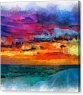 Taos Sunset Iv Watercolor Canvas Print