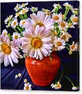 Technicolor Daisies In An Orange Pot Canvas Print