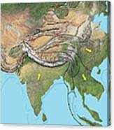 Tectonic Map Of Asia Canvas Print