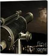 Telescope And Red Moon Canvas Print