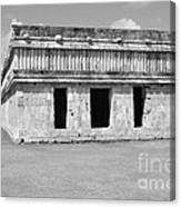 Temple Of The Turtles At Uxmal Mexico Black And White Canvas Print