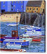 Painting Tenby Harbour With Boats Canvas Print