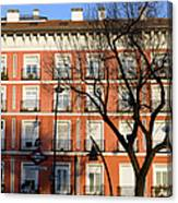 Tenement House Facade In Madrid Canvas Print