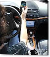 Texting And Driving Canvas Print