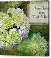 Textured Hydrangeas Birthday Mother Greeting Card Canvas Print