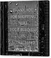 Thank You For Shopping Here Canvas Print