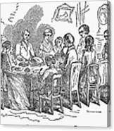 Thanksgiving Dinner, 1850 Canvas Print