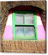 Thatched Roof Cottage Window Canvas Print