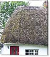 Thatched Roof Cottage With Red Door Canvas Print