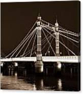 The Albert Bridge London Sepia Toned Canvas Print