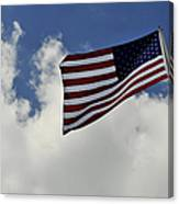 The American Flag Blowing In The Breeze Canvas Print
