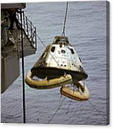 The Apollo 9 Command Module Is Hoisted Canvas Print
