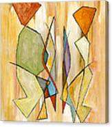 Modern Art Beige Orange Green Abstract Color Blocks Barcelonian Couple Canvas Print