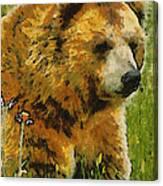 The Bear Painterly Canvas Print