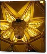 The Beautifully Lit Chandelier On The Ceiling Of The Iskcon Temple In Delhi Canvas Print