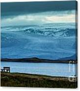 The Bench And The Glacier Canvas Print