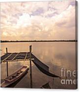 The Blue Sky And A Boat Canvas Print