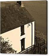 The Boathouse At Laugharne Sepia Canvas Print
