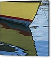 The Bow Of An Anchored, Striped Boat Canvas Print