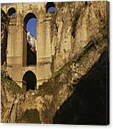 The Bridge At Ronda Spain Connects Canvas Print