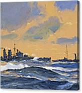 The British Cruisers Hms Exeter And Hms York  Canvas Print