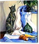 The Cat And The Cloth Canvas Print