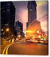 The Flat Iron Building With Some Magic Happening Canvas Print