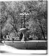 The Fountain And The Ride In Black And White Canvas Print