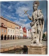 The Fountain And The Typical Houses Canvas Print