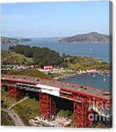 The Golden Gate Bridge North Side Overlooking Angel Island And Tiburon And Horseshoe Bay . 7d14494 Canvas Print