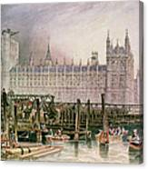 The Houses Of Parliament In Course Of Erection Canvas Print