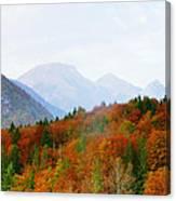 The Julian Alps In Autumn At Lake Bohinj Canvas Print