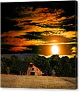 The Late Sam's Rd. Barn In The Moonlight Canvas Print