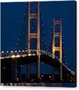 The Mackinaw Bridge At Night By The Straits Of Mackinac Canvas Print
