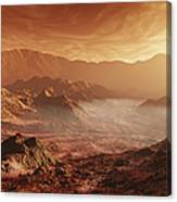 The Martian Sun Sets Over The High Canvas Print