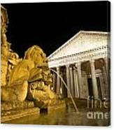 The Pantheon At Night. Piazza Della Rotonda.rome Canvas Print