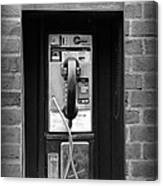The Payphone - Black And White Canvas Print