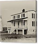 The Piney Point Lighthouse In Sepia Canvas Print