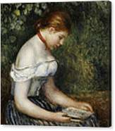 The Reader A Seated Young Girl  Canvas Print