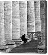 The Reader Amidst The Columns Bw Canvas Print