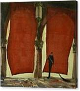 The Red Blinds Of Venice Fish Market Canvas Print