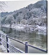 The River Severn In Ironbridge Frozen During Winter II Canvas Print