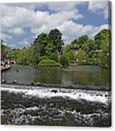 The Riverside And Weir - Bakewell Canvas Print