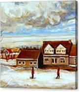 The Schoolhouse Winter Morning Quebec Rural Landscape Canvas Print