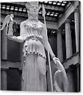 The Statue Of Athena Bw Canvas Print