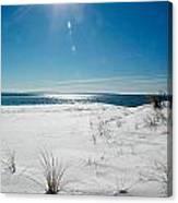 The Sun Shines Down On Freshly Fallen Snow On Bristol Beach Canvas Print